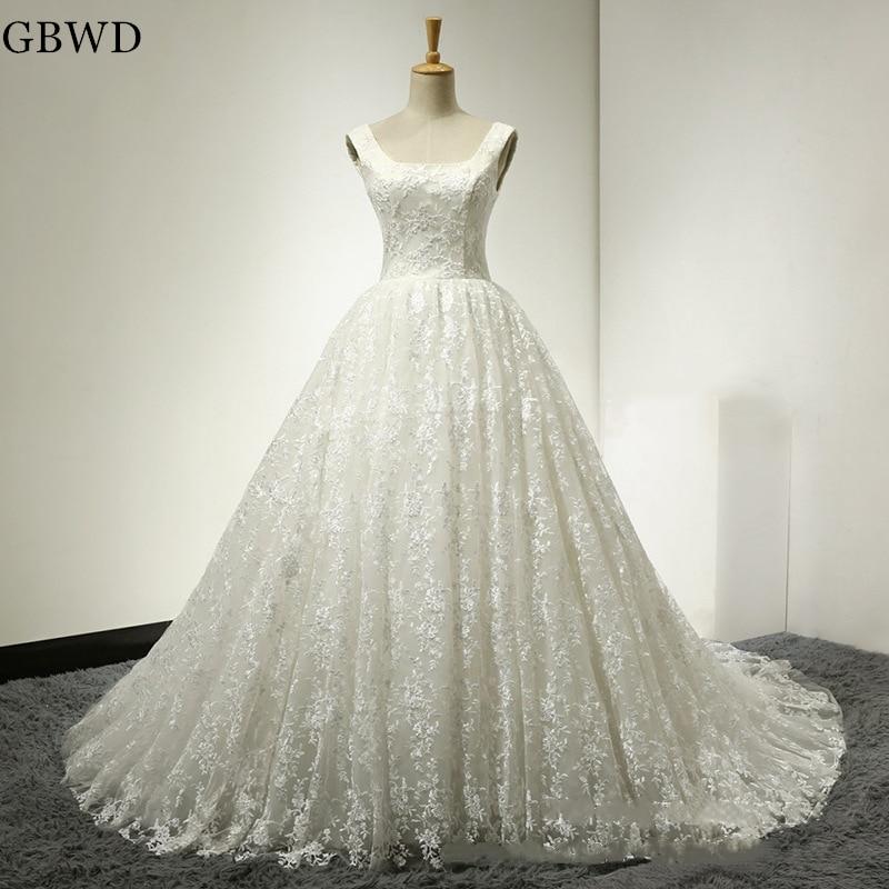 2019 White Luxury Lace Wedding Dresses Vintage Simple