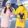 Nova Moda Feminina Inverno Hoodies Grossas Soltas Moletom Com Capuz Dos Desenhos Animados Do Rato Corredores De Lã Pullover Sudaderas Moletons Outwear