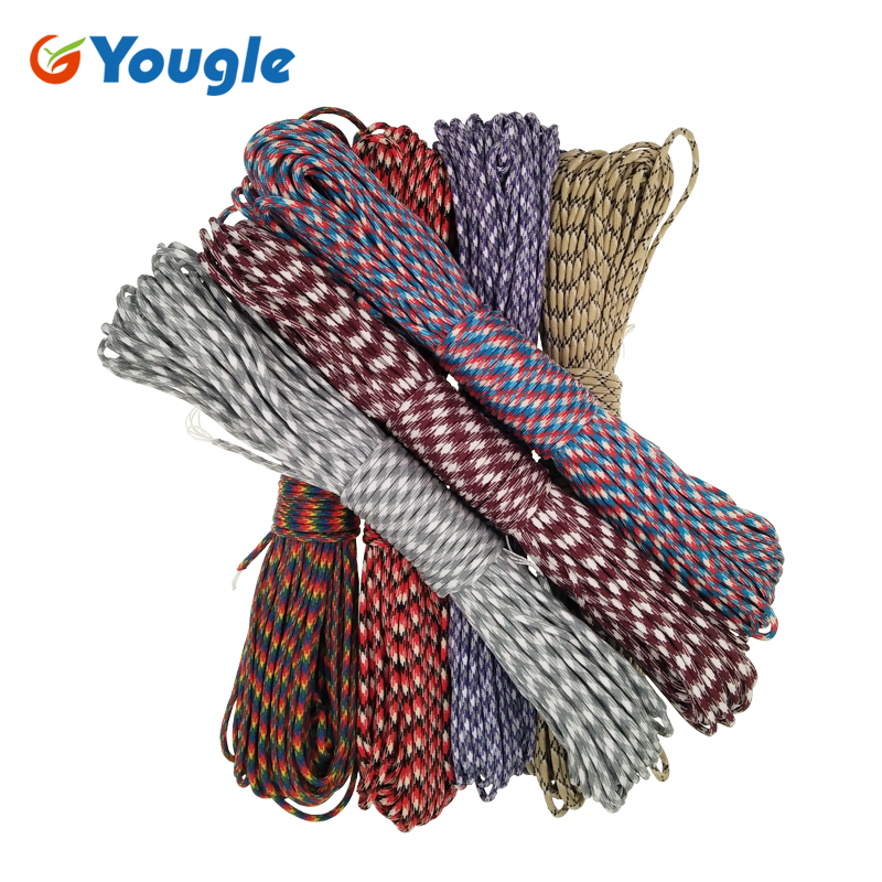 YOUGLE Paracord Rope-Type Survival-Rope 100FT Outdoor Camping III 550lb 7-Stand 102-108