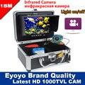 """Eyoyo Original 15 M Inventor Dos Peixes de Pesca Submarina Camera DVR Gravação De Vídeo 1000TVL 7 """"Monitor de Infravermelho IR LED Livre Sunvisor"""