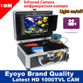 "Eyoyo Original 15M 1000TVL Underwater Fishing Camera Video Recording DVR Fish Finder 7"" Monitor Infrared IR LED Free Sunvisor"