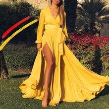 1401e55f735 ArtSu mode Robe de soirée haute fendue enveloppement de bandage Sexy Robe  Maxi femmes rouge vert jaune longue Robe de soirée .
