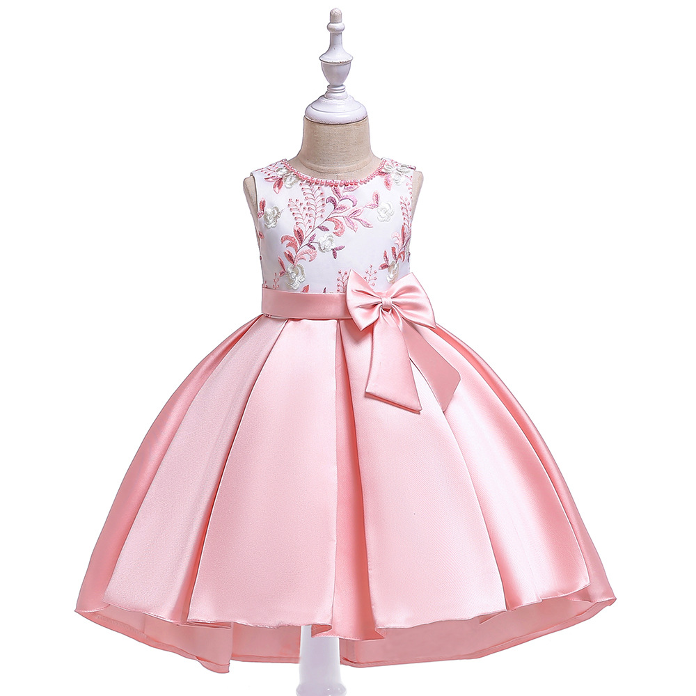 Cute A-Line Sleevless Satin   Flower     Girl     Dresses   with Bow Satin Lace Appliques