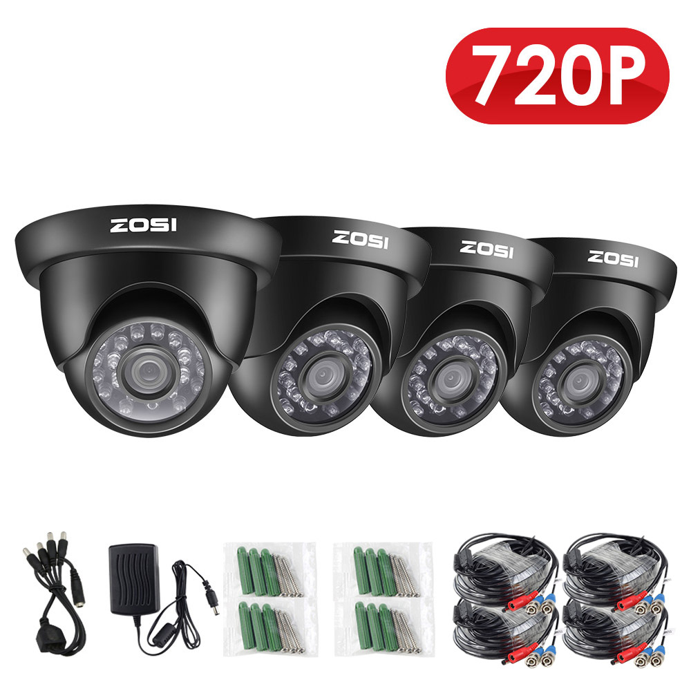 ZOSI 4 Pack HD-TVI 720P 24PCS IR Leds Security Surveillance CCTV Camera Had IR Cut High Resolution Outdoor Weatherproof Camera