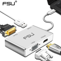 High quality USB type c to VGA DVI HDMI USB Adapter for Macbook Tablet Monitor laptop