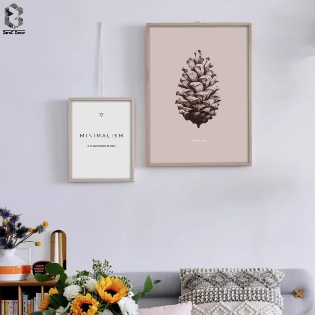 Nordic Posters And Prints Pine Cone Wall Art Minimalism Painting ...