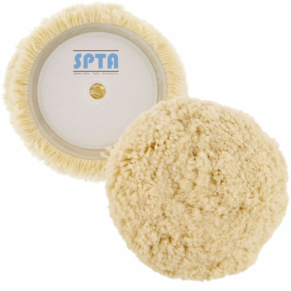 SPTA 6(150mm) 100% Wool Hook & Loop Grip Buffing Pad for Car Polisher Compound Cutting & Polishing spta 6 150mm polishing pad buffing pad sets for car polisher sander select set