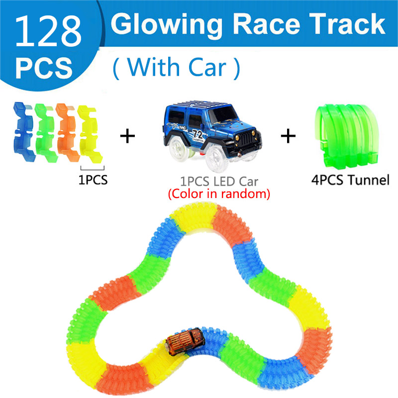Железнодорожная волшебный светящийся гибкие трек автомобиль игрушки детей гонки изгиб рельсового пути привели Электронная вспышка света автомобиля DIY игрушки детям подарок - Цвет: 128pc 1car 4tunnel