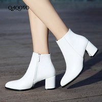 White Black Women Boots Comfy Square High Heel Ankle Boots Fashion Pointed Toe Zipper Boots Autumn Winter Ladies Shoes 2019
