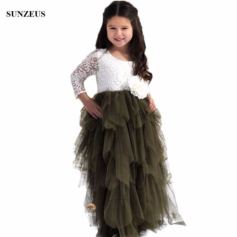 A-line Long Sleeve   Flower     Girl     Dress   With Tulle Ruffles High Low Wedding Party Gowns With Lace FLG059