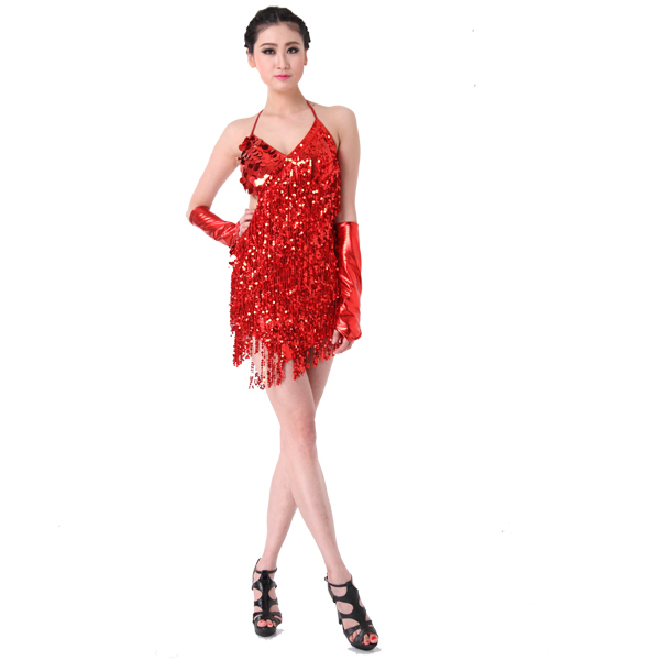 Picture of Dance Dress For Girls Sexy Lady Sequins Tassel Latin Rumba Square Dance V Neck Strap Dress Mini Dressd