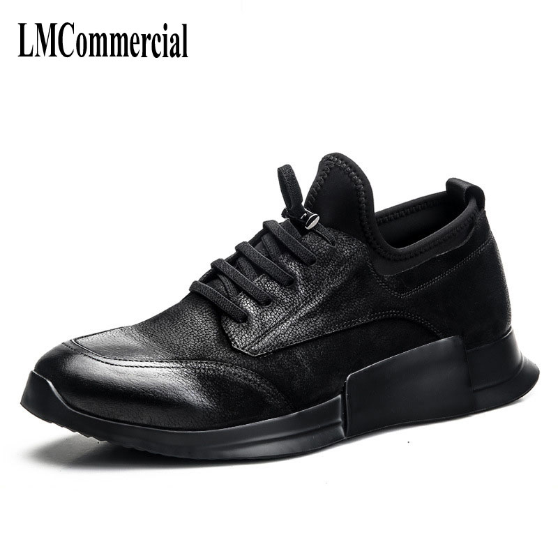 High men casual shoes retro British matte leather shoes worn shoes tide young personality  breathable sneaker the spring and summer men casual shoes men leather lace shoes soled breathable sneaker lightweight british black shoes men