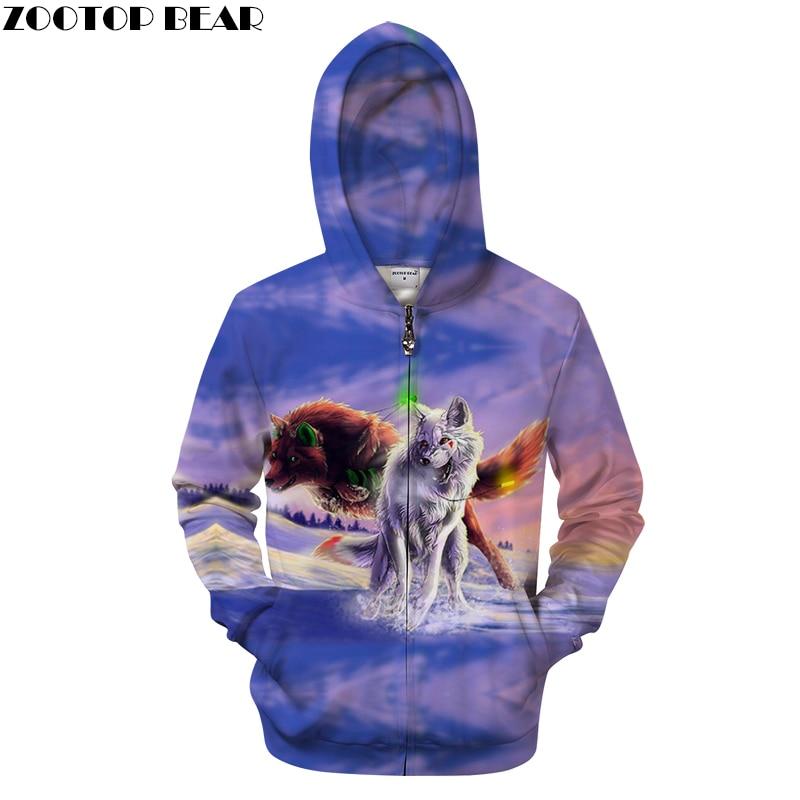 Purple 3D Zip Hoodies Wolf Hoodie Men Women Hoody Streatwear Sweatshirt Zipper Tracksuit Anime Pullover Drop Ship ZOOTOPBEAR
