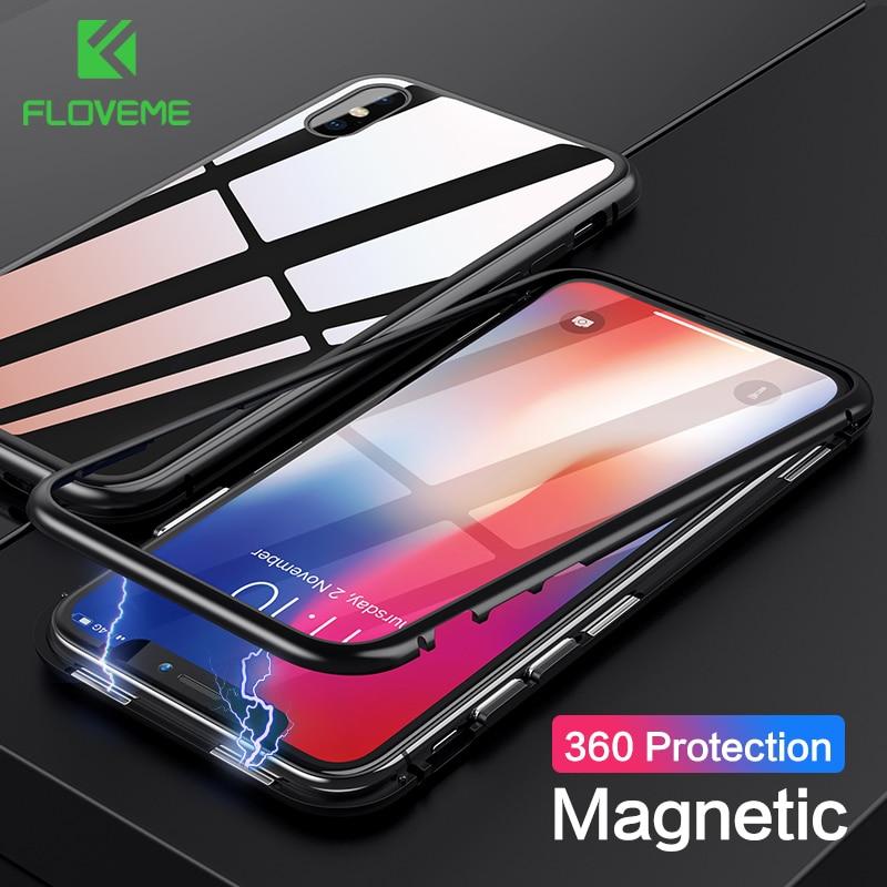 百思买 ) }}FLOVEME Tempered Glass Phone Case For iPhone X 6 6s Luxury Magnetic Adsorption Cases For