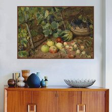 Landscape Canvas Painting Print Grapevine in the Field Watermelon Fruits Still Life Oil for Living Room Wall Art Custom