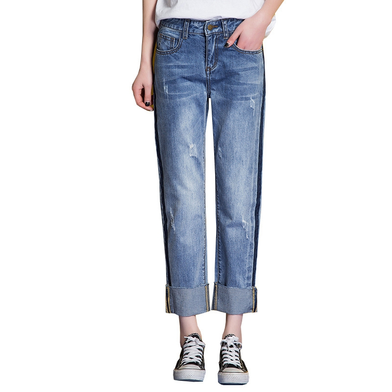 New Summer Female Straight Jeans Ripped Pants For Women Plus Size Blue Fashion Boyfriend Jeans Women Mid Waist Loose Denim Pants boyfriend jeans for women real mid 2016 new summer jeans wholesale korean slim hole denim shorts female curling straight pants