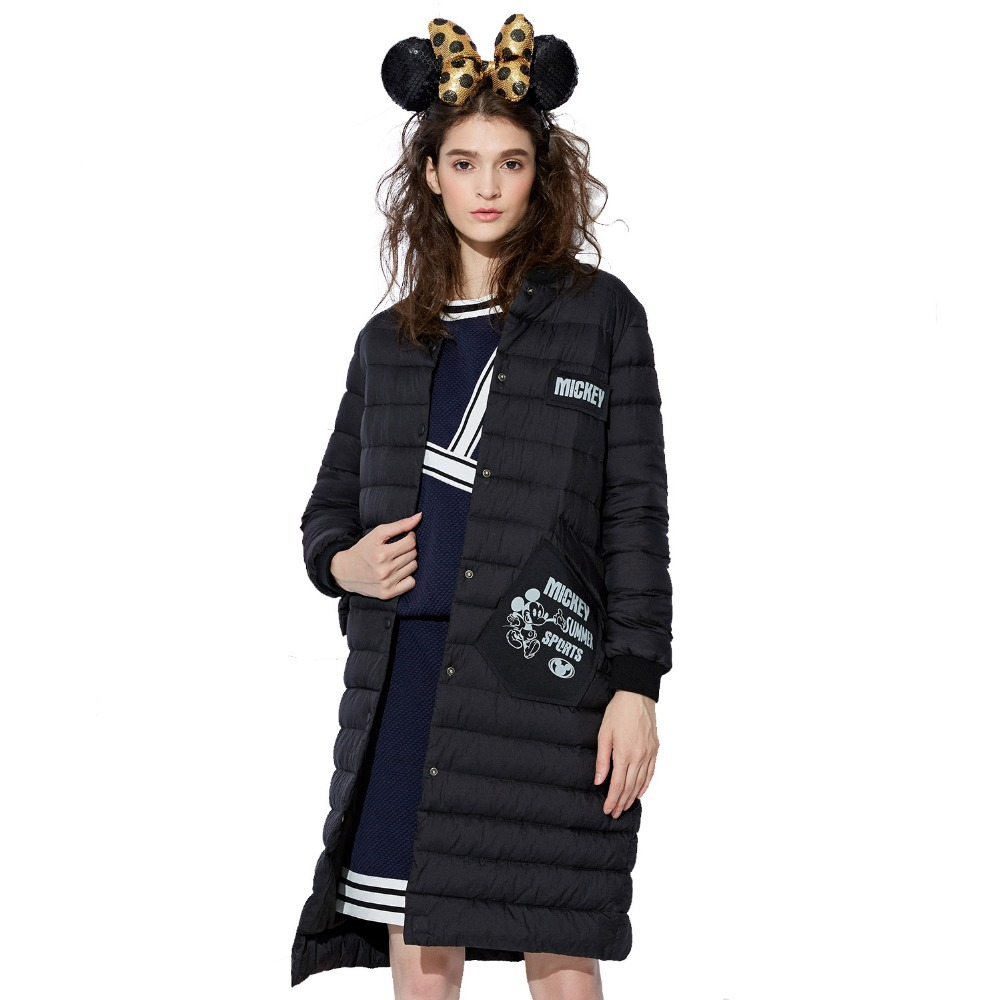 BOSIDENG women's clothing X-LONG winter coat long down jacket sweet style mickey mouse 90% down covered bottons B1601048D