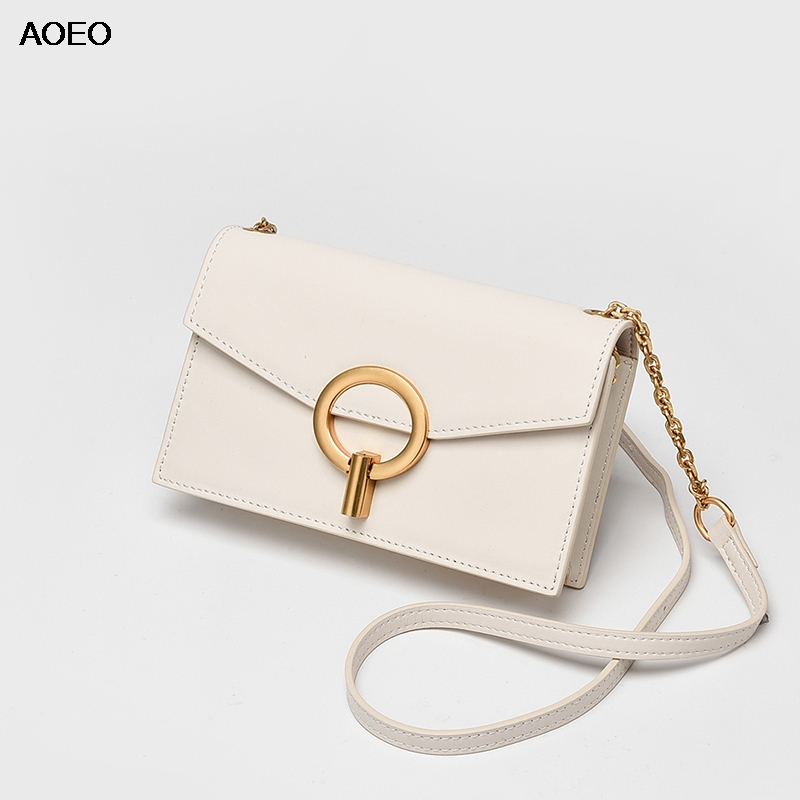AOEO Chains shoulder bag for women Slim design round metal summer ladies handbags split leather korean