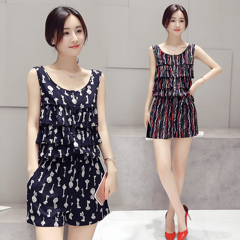 2016 Sexy Summer Style Casual Print Sleeveless Jumpsuits O Neck Print Playsuit Short Rompers Womens Clothing Jumpsuit A3604