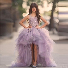 2017 New Arrival Purple Flower Girl Dresses Appliques Ball Gown Formal Ruffles O-Neck Sleeveless Pageant Communion Party Gowns