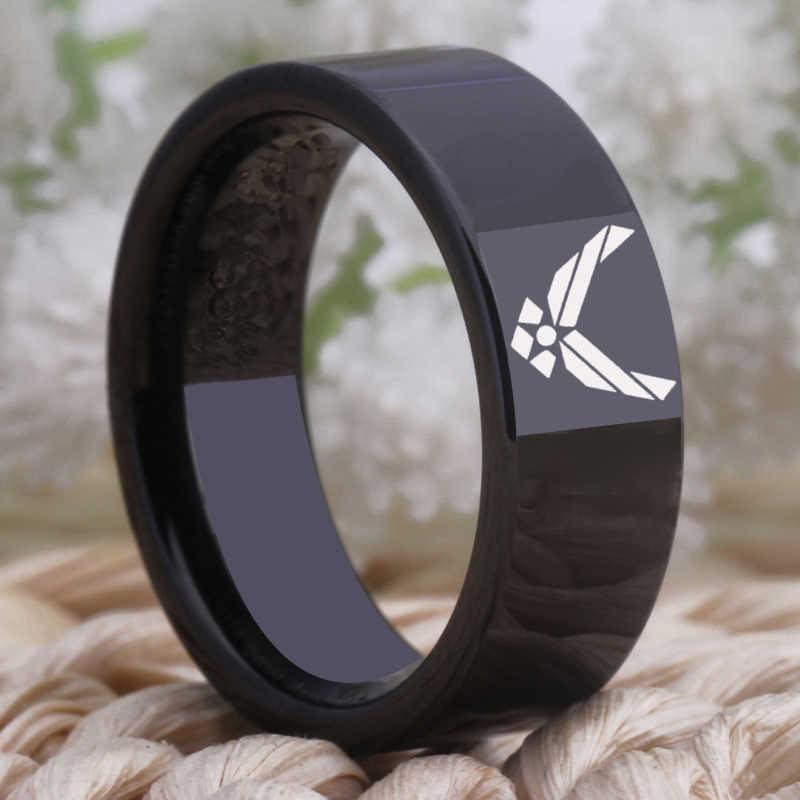 YGK مجوهرات 8 مللي متر الأسود الأنابيب الراحة صالح الجيش الأمريكي سلاح الجو تصميم التنغستن خاتم الزواج