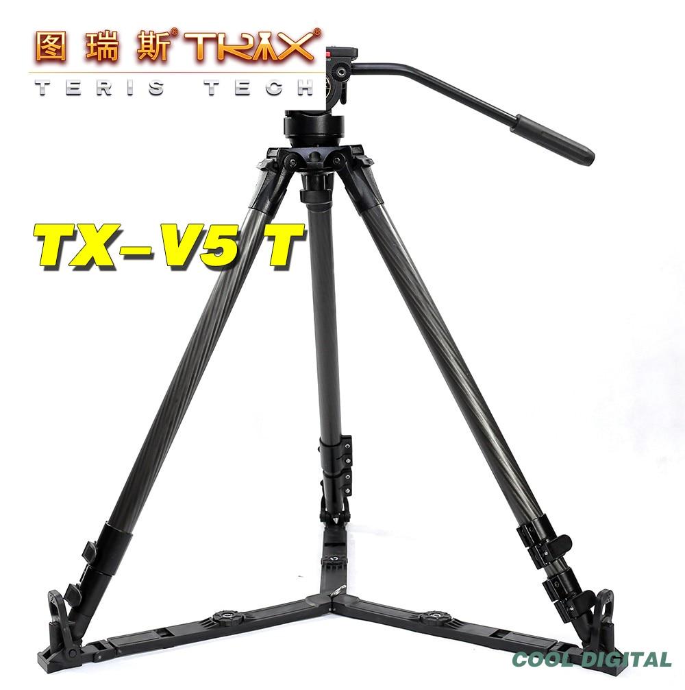 TERIS TRIX V5T TX-V5T Carbon Fiber Camera Tripod Kit w/ Fluid Head Load 5KG DSLR VIDEO Tripod Portable for DSLR HDV C300 100 5D3