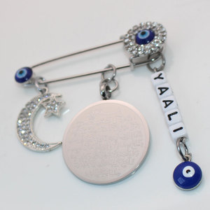 Image 5 - Kan Aanpassen Naam Moslim Islam Koran Ayatul Kursi Perzische Crescent Moon Star Amulet Rvs Broche Baby Pin