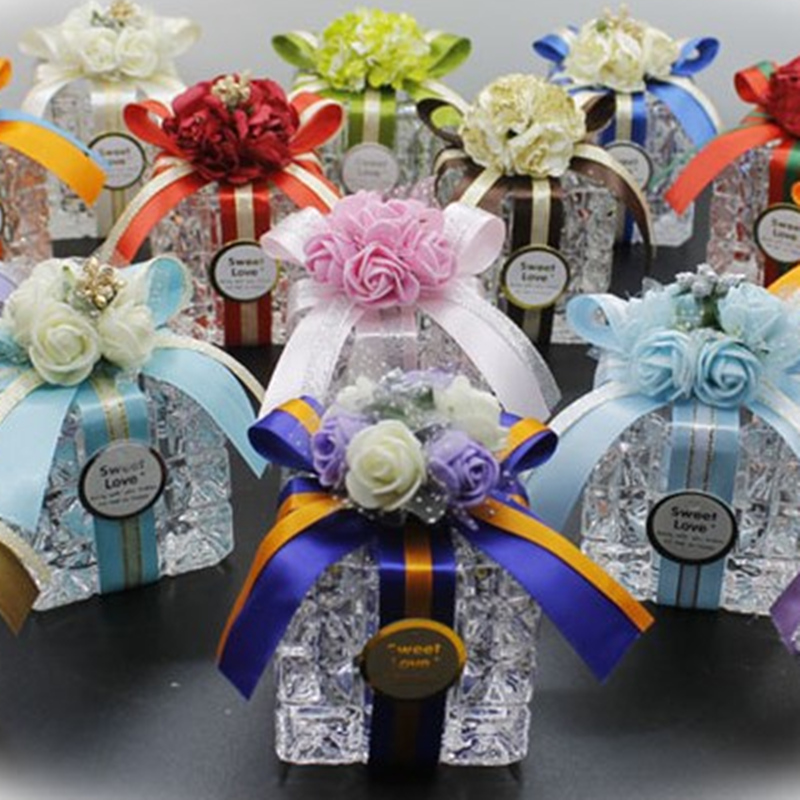 Glass-Bottle Pudding Candy-Box Square Marriage Brown Fashion Cylinder Jelly Crystal