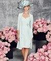 Na altura do Joelho Curto Mãe Dos Vestidos de Noiva Com Jaqueta de 2017 Simples Mulheres Chiffon vestido Formal vestido de madrinha