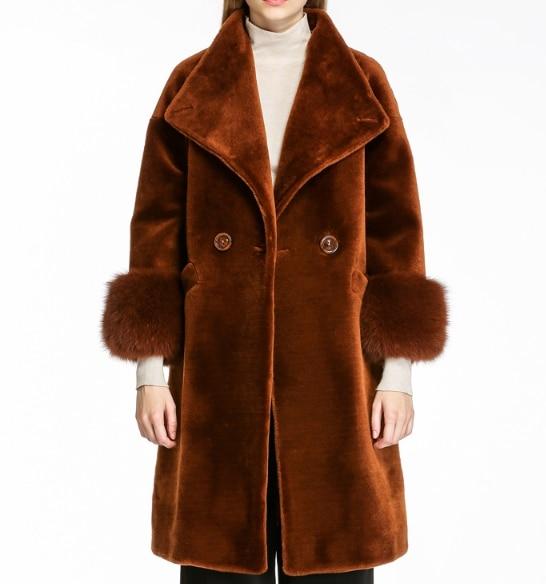 Новое поступление Для женщин зимние искусственной овечьей шерсти Мех животных пальто Полный Пелт Офисные женские туфли отложной воротник ...
