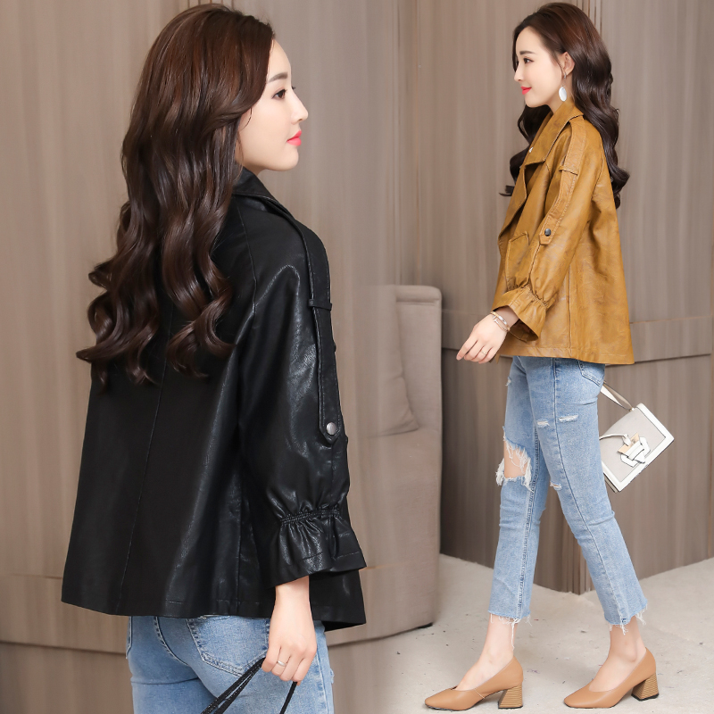 2018 New Design Autumn Winter PU Leather Jacket Women Faux Soft Leather Coat Black Khaki Plus Size S-XXL Motorcycle Jackets 2