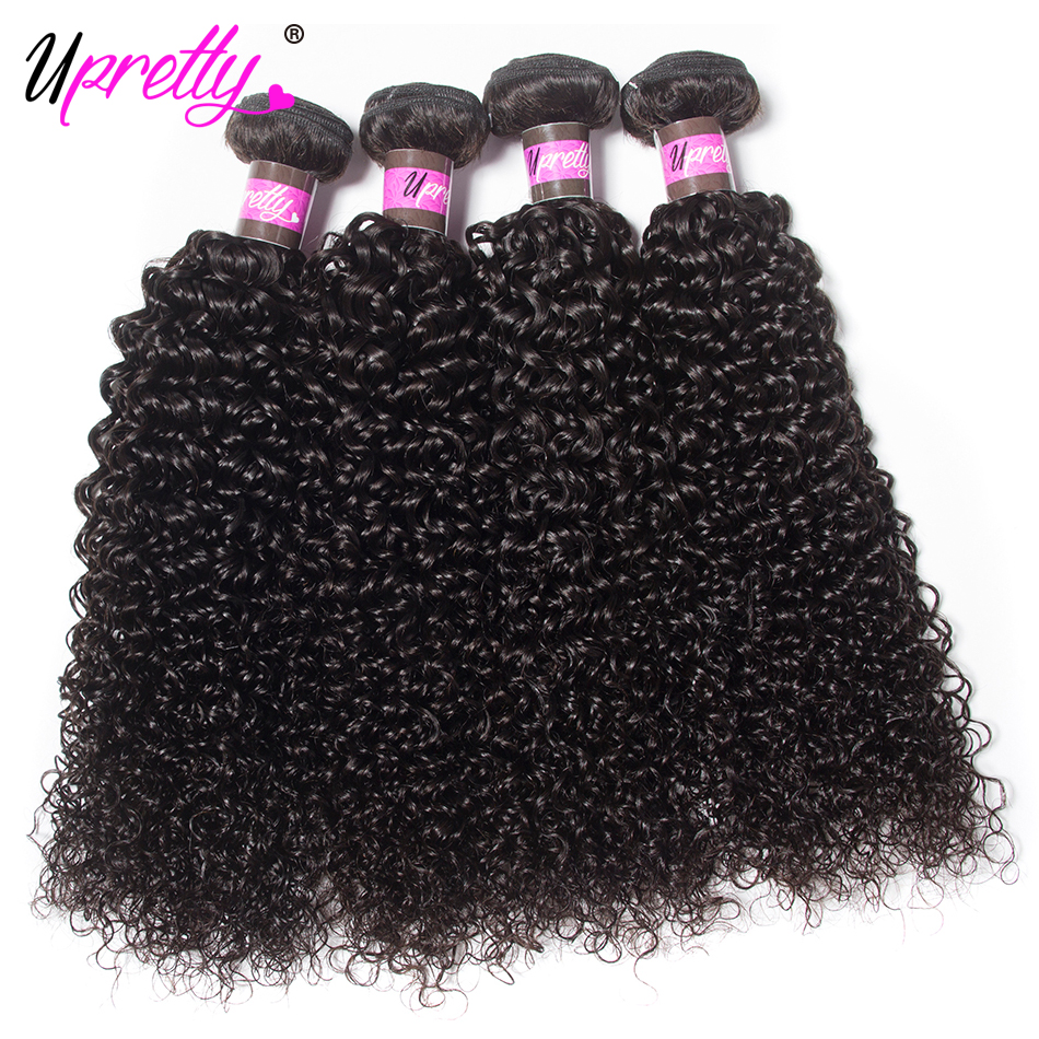 Upretty Hair Malaysian Curly Weave Human Hair Extensions 4 Bundles Malaysian Hair Products Natural Color Cheap Bundles Deals