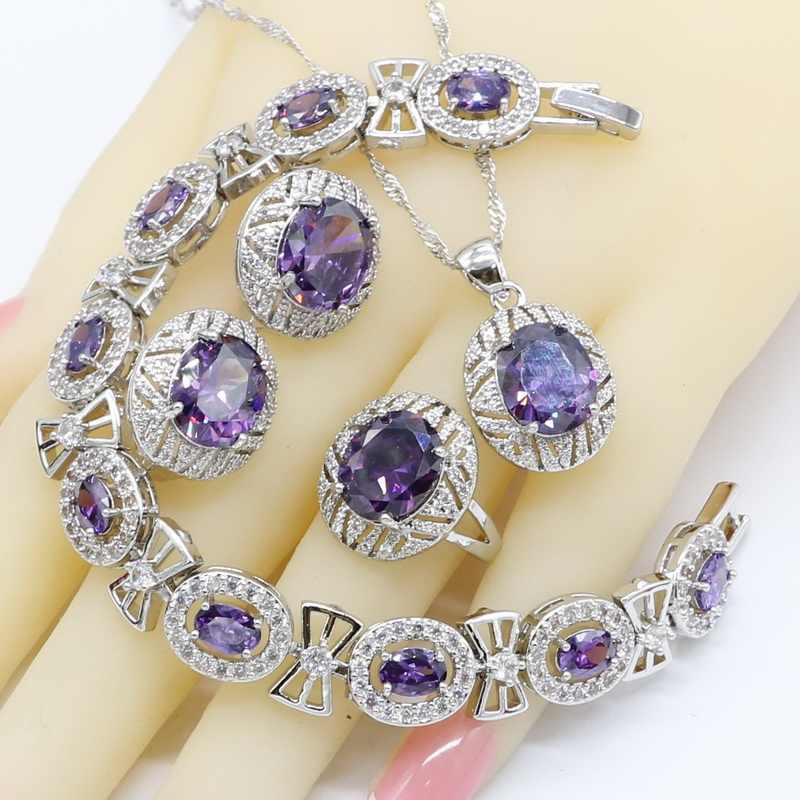 Geometric Purple Zirconia 925 Silver Jewelry Sets for Women Bridal Bracelet Hoop Earrings Rings Necklace Pendant Gift Box