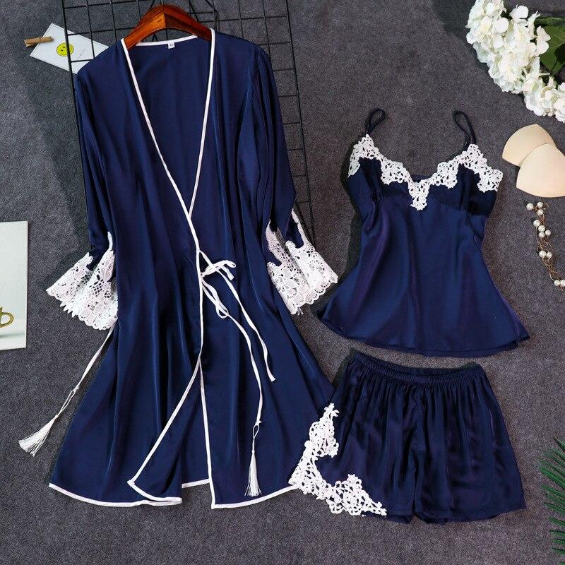 2019 3 PCS Women   Pajamas     Sets   With Shorts Pyjama Satin Embroidery Nightwear Silk Negligee Sleepwear Pijama Chest Pads
