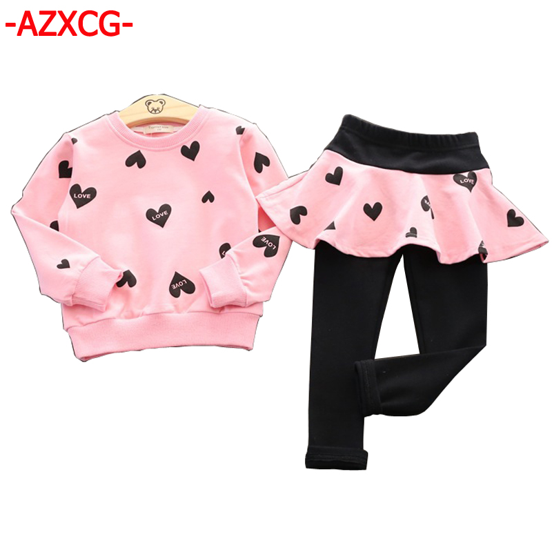 d5aea96a9027 2017 New Fashion Girls Clothing Set Kids Sport Suit Children Cotton Long  Sleeve Sweater + Culotte Suits For 2 3 4 5 6 7 Years-in Clothing Sets from  Mother ...