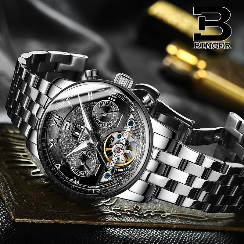 Klasyczne biznesmenów automatyczne Tourbillon zegarki własny likwidacji mechaniczny zegarek wielofunkcyjny mężczyzna pełna stal zegarki 3Bar w Zegarki mechaniczne od Zegarki na  Grupa 1