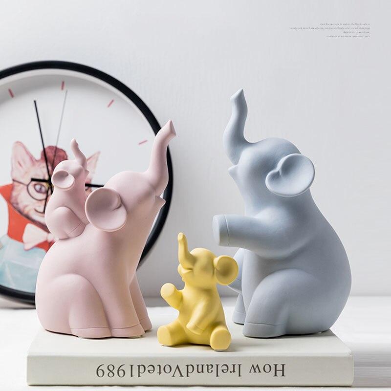 Скандинавские креативные семейные украшения с изображением слона, украшение для дома, керамические фигурки животных, фарфоровые поделки в ...