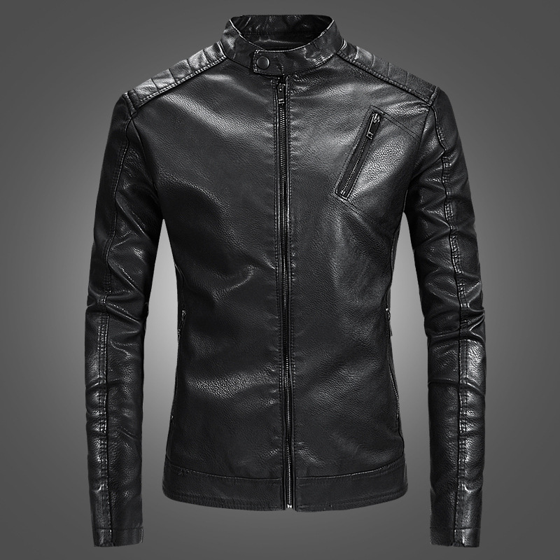 2018 Autumn New Casual Stand Collar Motorcu Montu Erkek Good Quality Slim Fit Jaket Men Leather