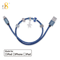 D8 Mfi Certified Beads Bracelet Charge USB Cable For iPhone XS MAX XR X 0.4m Universal Cord Sync Genuine Leather Woven Data Line