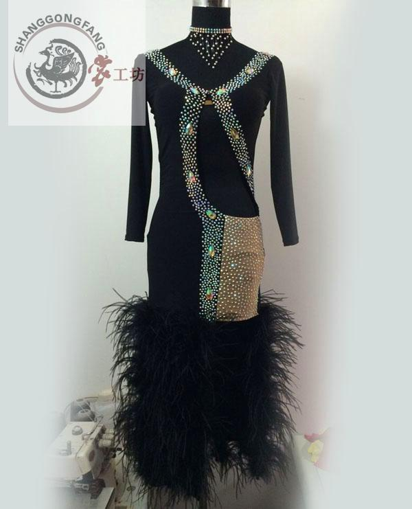 New Latin Dance Costumes Senior Sexy Long Sleeves Feather Latin Dance Dresses For Women Latin Dance Competition Dresses S-4XL
