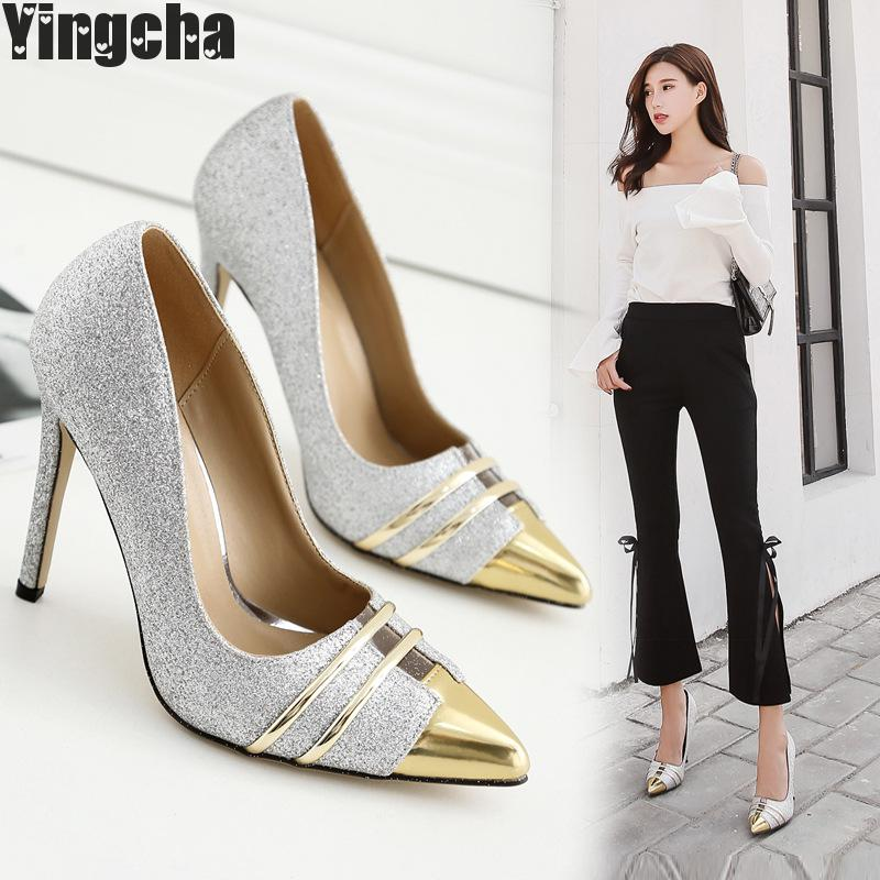 Women Pumps Heels Sexy High Heels Shoes Women Wedding Shoes Pumps Ladies Shoes Black Silver Woman Thin Heel High Heel Shoes women silver high heels wedding shoes elegant rhinestone thin heel 10cm 8 5cm patent leather sexy pumps elegant sexy shoes