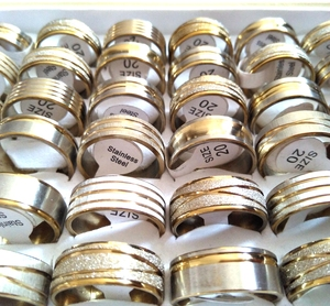 Image 3 - 100pcs Gold Line Top MIX Mens Fashion Stainless Steel Rings Man Cool Jewelry Hot sale Wholesale Jewelry Lots