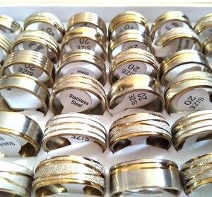 Image 3 - 100pcs זהב קו למעלה לערבב גברים של אופנה נירוסטה טבעות איש מגניב תכשיטי מכירה לוהטת סיטונאי הרבה תכשיטים