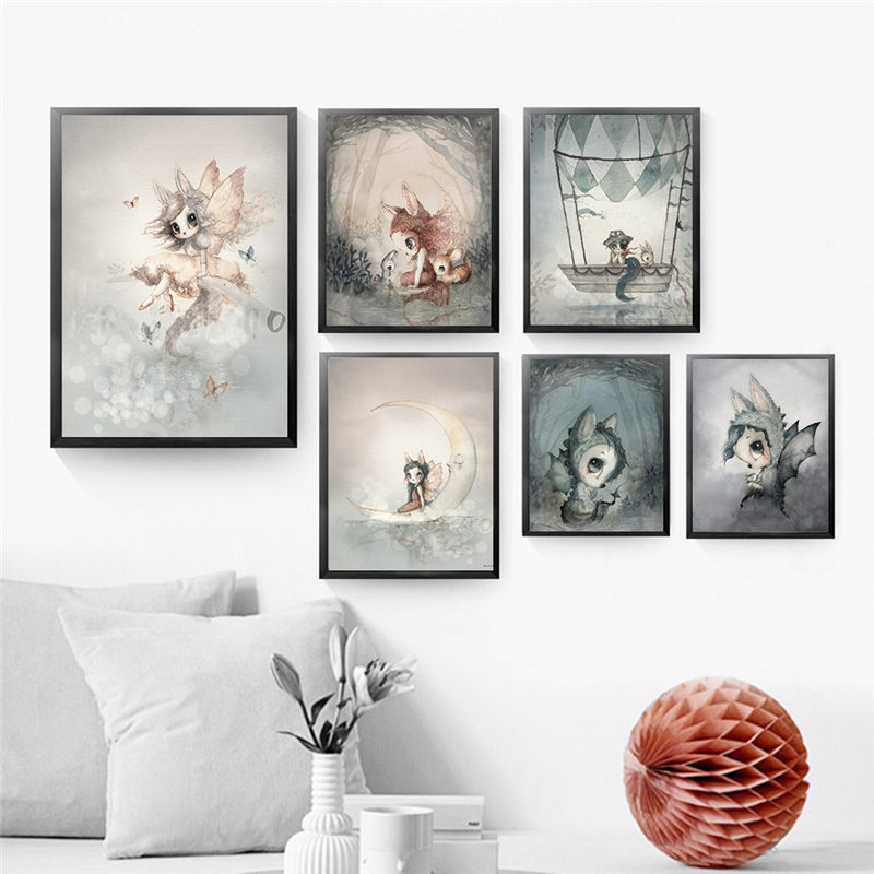 Скандинавский Кролик для мальчиков и девочек, живопись на холсте, мультфильмы, украшение ангела, художественные Плакаты для детей, детская комната, настенные фрески Рисование и каллиграфия      АлиЭкспресс