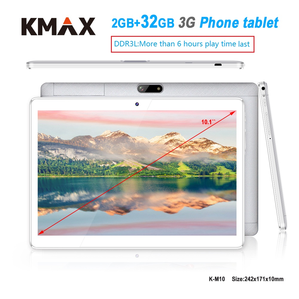 KMAX 10.1 inch 3G phone call Tablet pc 2GB 32GB RAM Quad Core Android 6.0 Dual Cameras wifi GPS Tablets 7 8 9 10 Original case