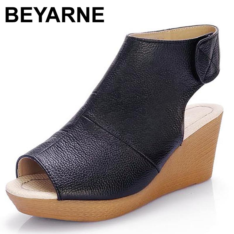 BEYARNE Chinese Brand Summer Open Toe Shoes Woman Genuine Leather Wedge Platform Sandals Fashion 2017 Casual Wedges Women Sandal woman fashion high heels sandals women genuine leather buckle summer shoes brand new wedges casual platform sandal gold silver