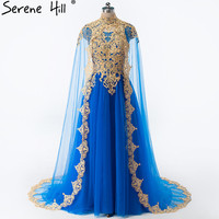 Arabic Dubai Gold Embroidery Vestidos De Noche 2018 Royal Blue Crystal Lace Evening Dress Party Formal Gowns for Muslim BHA2030