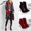 2017 Outono Verão Mulheres Bombas Moda Calçados Femininos Peep Toe Sandálias Botas Senhoras Sapatos de Festa Sandálias Fivela Plus Size Preto/vermelho