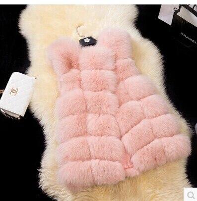 Высококачественная меховая жилетка, роскошное пальто из искусственного лисьего меха, теплое Женское пальто, жилетки, Зимняя мода, меховые женские пальто, куртка, жилетка, жилет, 4XL - Цвет: pink