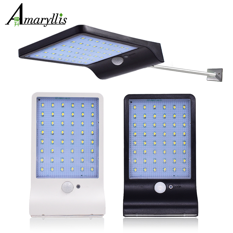 450Lumens 48 LED Solar Light Three Modes Black White Waterproof Outdoor Garden Wall Fence Lamp With Mounting Pole Or Not